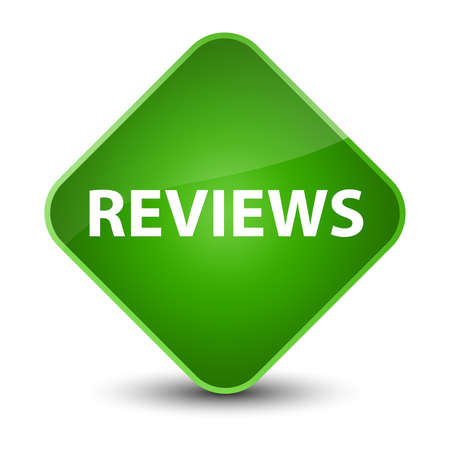 analyze: Reviews isolated on elegant green diamond button abstract illustration
