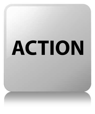 Action isolated on white square button reflected abstract illustration