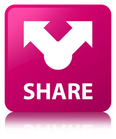 Share isolated on pink square button reflected abstract illustration