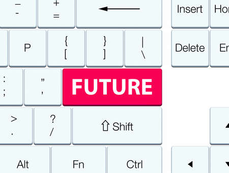 Future isolated on pink keyboard button abstract illustration