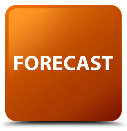 Forecast isolated on brown square button abstract illustration Banco de Imagens