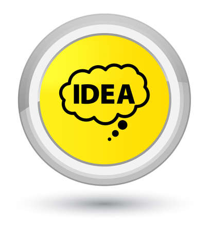 Idea bubble icon isolated on prime yellow round button abstract illustration