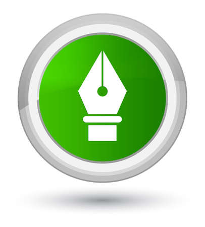 Pen icon isolated on prime green round button abstract illustration