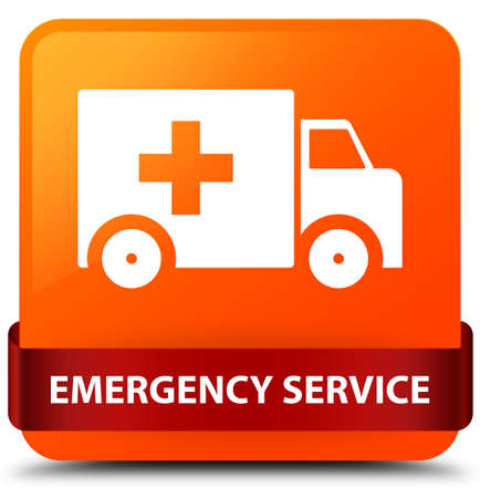 lorries: Emergency service isolated on orange square button with red ribbon in middle abstract illustration