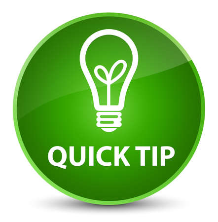Quick tip (bulb icon) isolated on elegant green round button abstract illustration