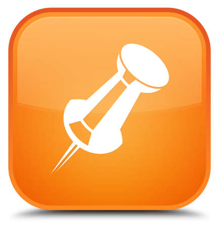 Push pin icon isolated on special orange square button abstract illustration