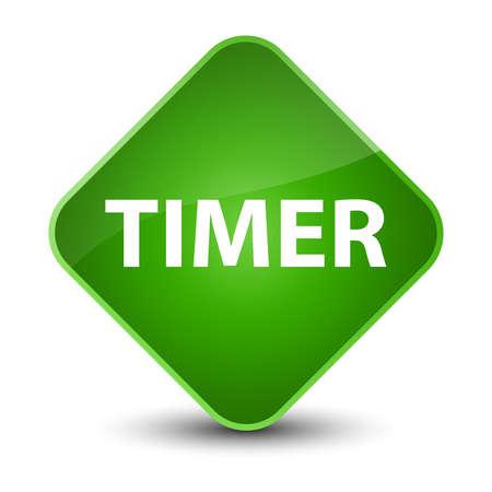 Timer isolated on elegant green diamond button abstract illustration