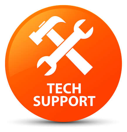 Tech support (tools icon) isolated on orange round button abstract illustration Stock Photo