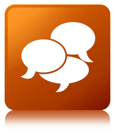 Comments icon isolated on brown square button reflected abstract illustration