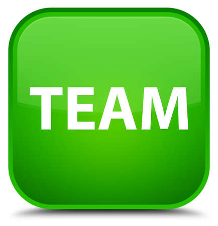 troupe: Team isolated on special green square button abstract illustration