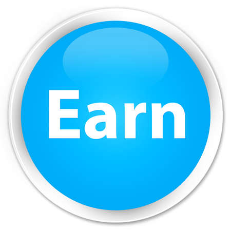 Earn isolated on premium cyan blue round button abstract illustration 版權商用圖片