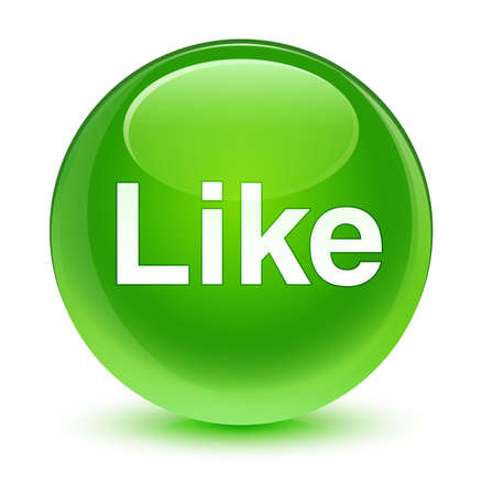 Like isolated on glassy green round button abstract illustration