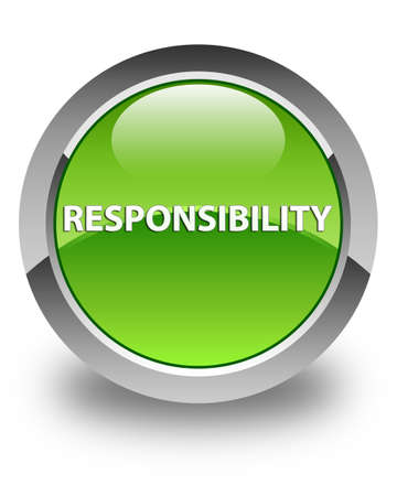 Responsibility isolated on glossy green round button abstract illustration Stock Photo