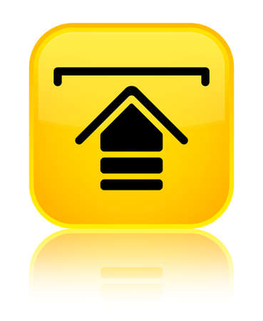 Upload icon isolated on special yellow square button reflected abstract illustration