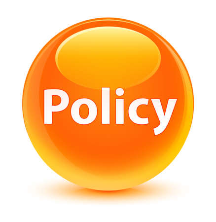 Policy isolated on glassy orange round button abstract illustration Stok Fotoğraf