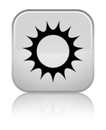 Sun icon isolated on special white square button reflected abstract illustration