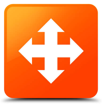 Move icon isolated on orange square button abstract illustration