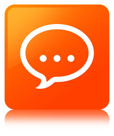 Talk icon isolated on orange square button reflected abstract illustration