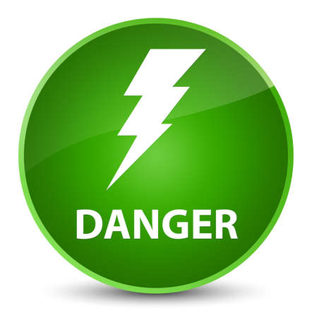 Danger (electricity icon) isolated on elegant green round button abstract illustration