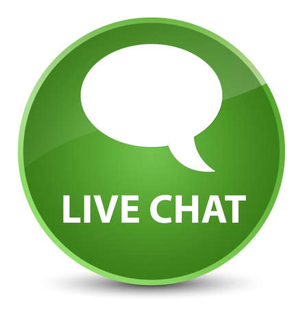 Live chat isolated on elegant soft green round button abstract illustration Stock Photo