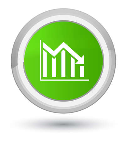 Statistics down icon isolated on prime soft green round button abstract illustration