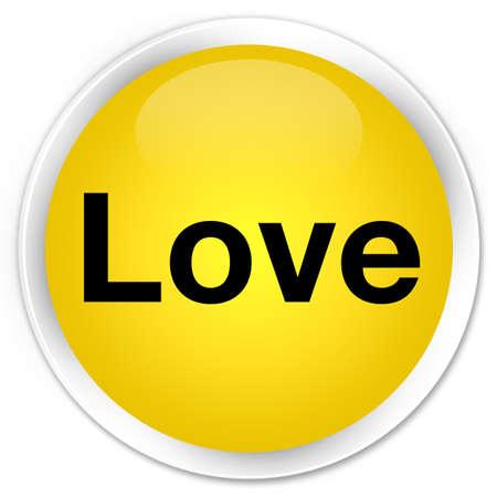 Love isolated on premium yellow round button abstract illustration Stock Photo