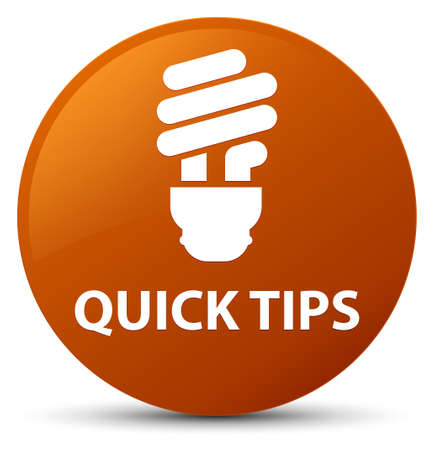 Quick tips (bulb icon) isolated on brown round button abstract illustration