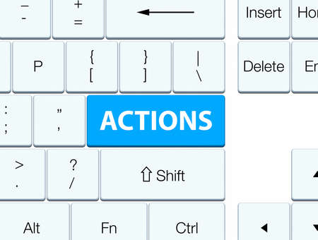 Actions isolated on cyan blue keyboard button abstract illustration