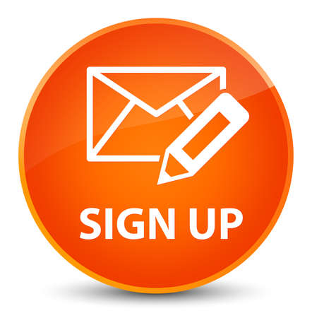 Sign up (edit mail icon) isolated on elegant orange round button abstract illustration