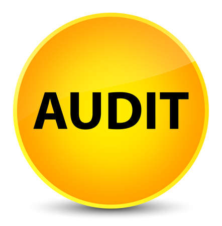Audit isolated on elegant yellow round button abstract illustration Stock Photo