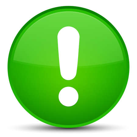 Exclamation mark icon isolated on special green round button abstract illustration Stock Photo