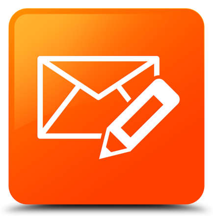 Edit email icon isolated on orange square button abstract illustration Stock Photo
