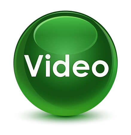 Video isolated on glassy soft green round button abstract illustration Stock Photo