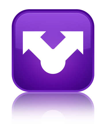 Share icon isolated on special purple square button reflected abstract illustration