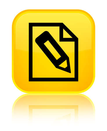 Pencil in page icon isolated on special yellow square button reflected abstract illustration