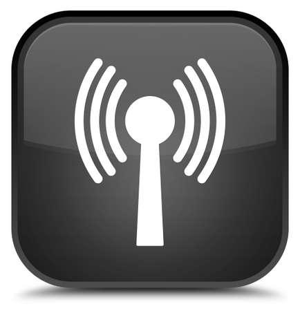 Wlan icône de réseau isolé sur le bouton carré noir carré illustration abstraite Banque d'images - 89125741