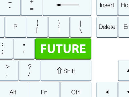 Future isolated on soft green keyboard button abstract illustration Stock Photo