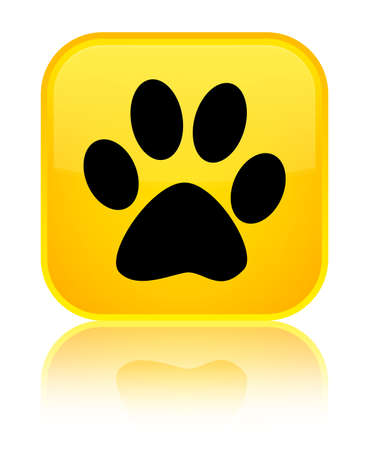 Animal footprint icon isolated on special yellow square button reflected abstract illustration