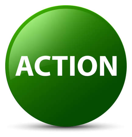 Action isolated on green round button abstract illustration