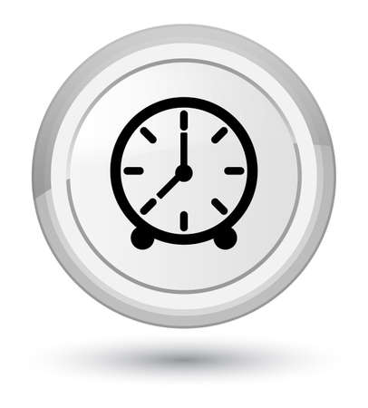 Clock icon isolated on prime white round button abstract illustration Stock Photo