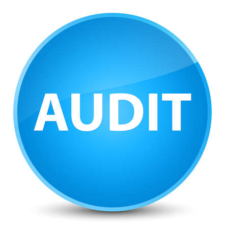 Audit isolated on elegant cyan blue round button abstract illustration Stock Photo