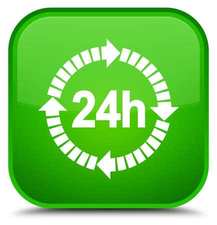 特別な緑の正方形ボタンの抽象的なイラストに分離された 24 時間配信アイコン