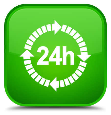 24 hours delivery icon isolated on special green square button abstract illustration Stock Photo