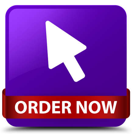 Order now (cursor icon) isolated on purple square button with red ribbon in middle abstract illustration