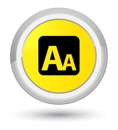 Font size box icon isolated on prime yellow round button abstract illustration