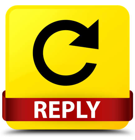Reply (rotate arrow icon) isolated on yellow square button with red ribbon in middle abstract illustration
