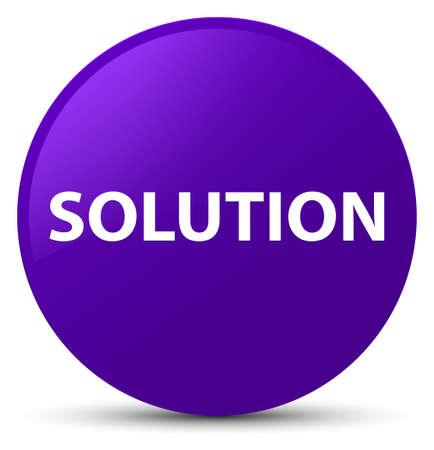Solution isolated on purple round button abstract illustration Stock Photo
