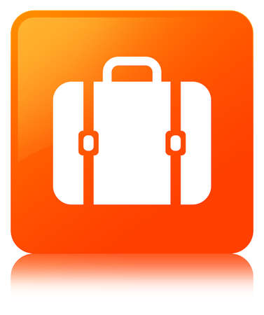 Bag icon isolated on orange square button reflected abstract illustration