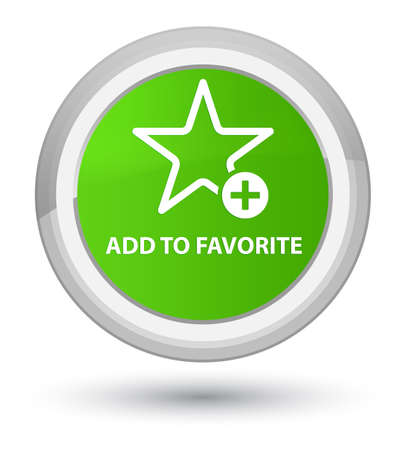 Add to favorite isolated on prime soft green round button abstract illustration Stock Photo