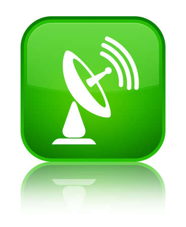 Satellite dish icon isolated on special green square button reflected abstract illustration